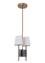 Craftmade 44492-FSSB - Parker 2 Light Pendant in Fired Steel/Satin Brass