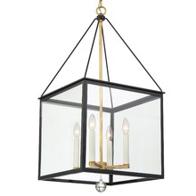 Crystorama WES-9907-BK-GA - Weston 4 Light Black and Antique Gold Lantern