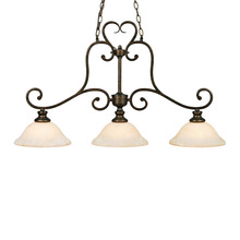 Golden 8063-10 BUS - Heartwood 3 Light Linear Pendant in Burnt Sienna with Tea Stone Glass