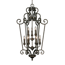 Golden 8063-CG9 BUS - Heartwood 2 Tier - 9 Light Caged Foyer in Burnt Sienna with Drip Candlesticks