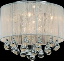 Crystal World 5006C14C-R (W) - 6 Light Drum Shade Flush Mount with Chrome finish