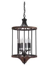 Jeremiah 40336-ESPWB - Tahoe 6 Light Foyer in Espresso/Whiskey Barrel