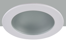 "Elegant R3-409MW - 3"" Shower Trim Frost glass with Matte White Trim ring"