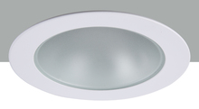 "Elegant R4-409MW - 4"" Matte White Shower Trim with Frosted glass 50W MR16"