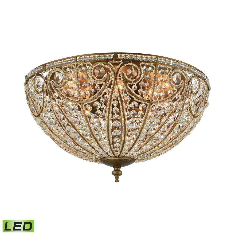 Elizabethan 8-Light Flush Mount in Dark Bronze with Clear Crystal - Includes LED Bulbs
