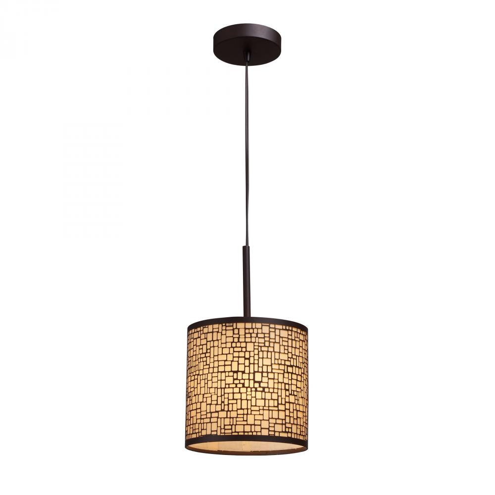 Medina 1 Light Pendant In Aged Bronze With Amber