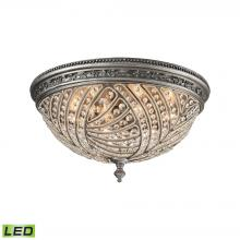 ELK Lighting 16251/6-LED - Renaissance 6-Light Flush Mount in Weathered Zinc with Crystal - Includes LED Bulbs