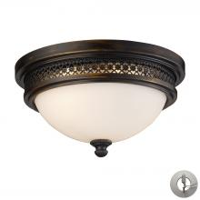ELK Lighting 20100/2-LA - Flushmounts 2-Light Flush Mount in Deep Rust with Opal White Glass - Includes Adapter Kit