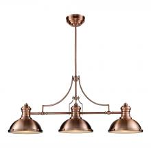 ELK Lighting 66145-3 - Chadwick 3-Light Island Light in Antique Copper with Matching Shade